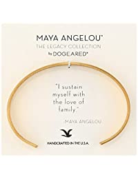 "Dogeared Maya Angelou 2.0"" I Sustain Myself. Thin Engraved Cuff Bracelet"