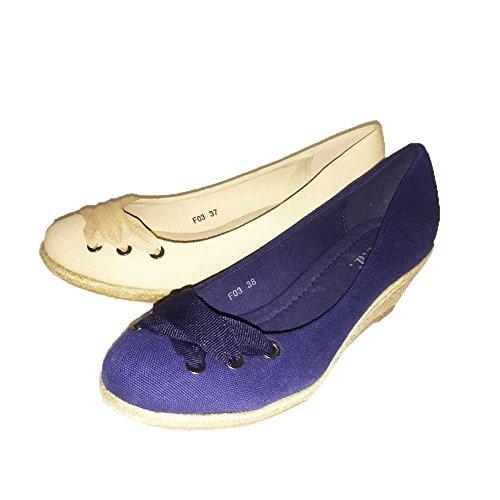 de Cuña de Azul Lona Baja EN simulado Parte con Zapatos SendIt4Me La Delantera Encaje wIqU5tO