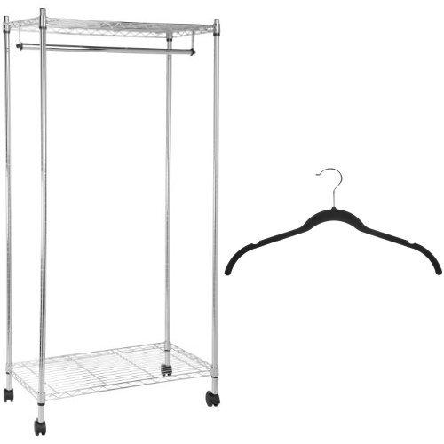 AmazonBasics Garment Rack and Velvet Shirt/Dress Hangers