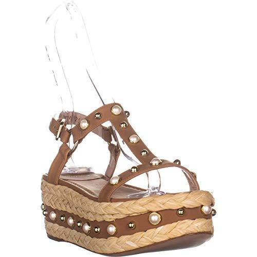 Stuart Weitzman Women's Be Raffia Flatform Sandals, Miel, 7 M US