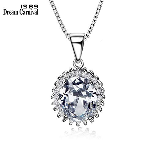 (Davitu1989 New 925 Box Chain Sterling Silver Pendant Necklace for Women Trendy Oval Clear Zirconia Collier Femme SZ09323R - (Metal Color: Rhodium Plated, Main Stone Color: Clear, Length: 40cm))