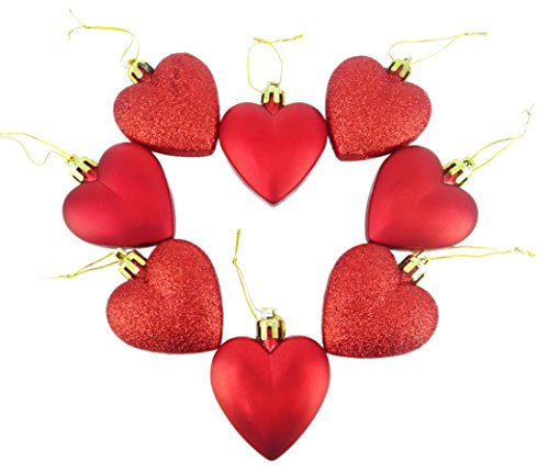 8 x 5cm RED Glitter + Matt Heart Shaped Christmas Tree Baubles - Heart Tree Decorations