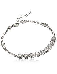 Platinum Plated Sterling Silver Round Halo Swarovski Zirconia Adjustable Bracelet