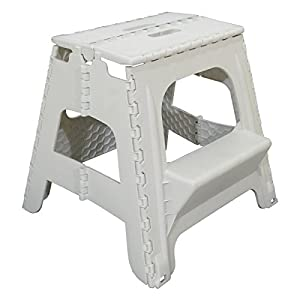 2 Step Plastic Folding Step Up Stools Collapsible Foldaway