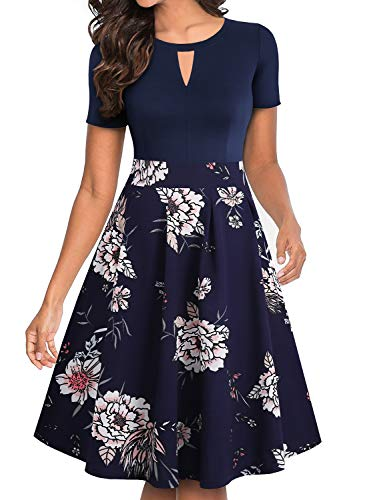 YATHON Women's Vintage Floral Flared A-Line Swing Casual Party Dresses with Pockets (XL, YT018-Navy Floral 03)