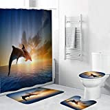 Vintage Dolphin Fabric Shower Curtain Set with 12 Hooks Decorative Waterproof Fabric Bathroom Curtain