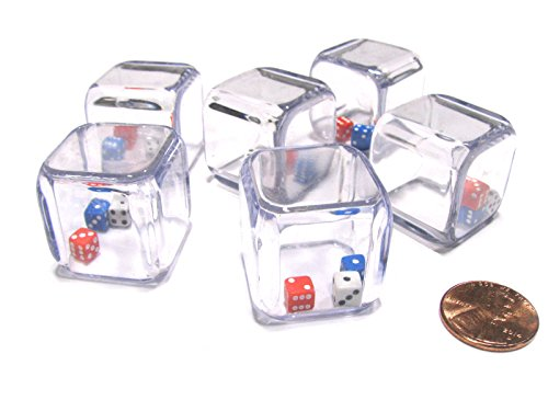 25 Blue Dice - Set of 6 '3 In a Cube' Dice - 5mm Red White and Blue Tiny Dice Inside 25mm Cube by Koplow Games
