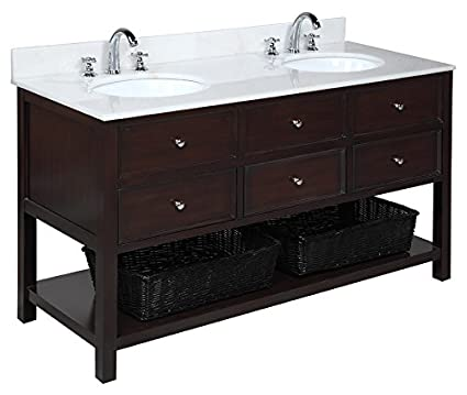 Kitchen Bath Collection KBCD60BRWT New Yorker Double Sink Bathroom Vanity  With Marble Countertop, Cabinet With