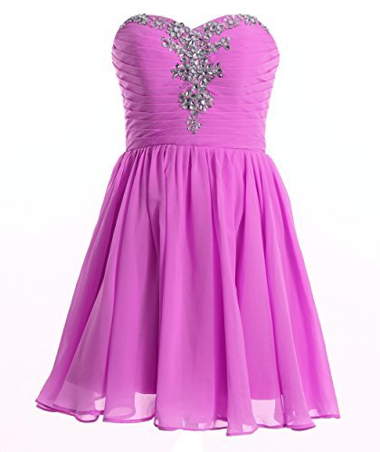 FAIRY COUPLE Sweetheart Strapless A-line Short Chiffon Homecoming Dress D0363 (US12, Light Purple) by FAIRY COUPLE