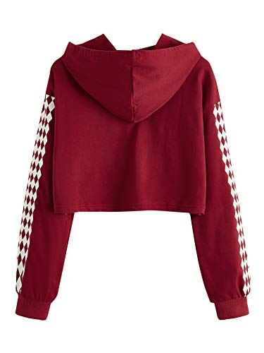 MakeMeChic Women's Hoodie Plaid Crop Top Sweatshirt