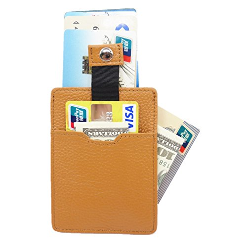 (Unique 3 pocket Slim Card Holder - Front Pocket Wallet - RFID Blocking - Money clip Strap - Minimalist Leather Credit Card Sleeve (Earth Yellow))