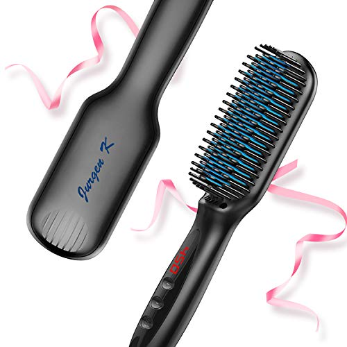 Hair Straightener Brush, Ionic Hair Straightening Brush with Anti-Scald and Auto Temperature Lock, PTC Ceramic Beard Hair Straightener Comb, Dual Voltage Hair Straightening Comb for Home and Travel