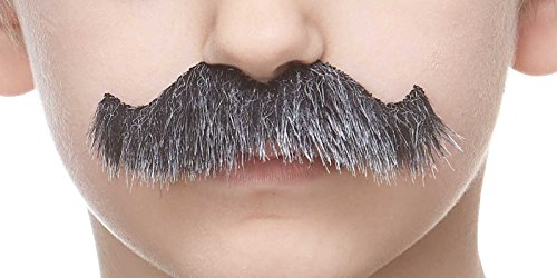 Mustaches Fake Mustache, Self Adhesive, Novelty, Small Rocking Grandpa's False Facial Hair, Costume Accessory for Kids, Salt and Pepper Color -
