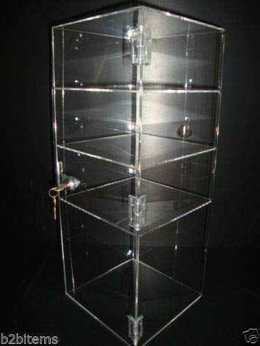 305 Displays Acrylic Countertop Display Case 8'' x 8'' x 19'' Locking Security Showcase Safe Box