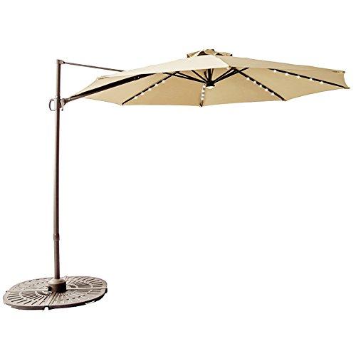 C-Hopetree 10′ Solar LED Offset Cantilever Umbrella for Outdoor Deck, Garden or Pool Area, Infinite Tilting, 360° Rotation, Cross Base, Beige Review