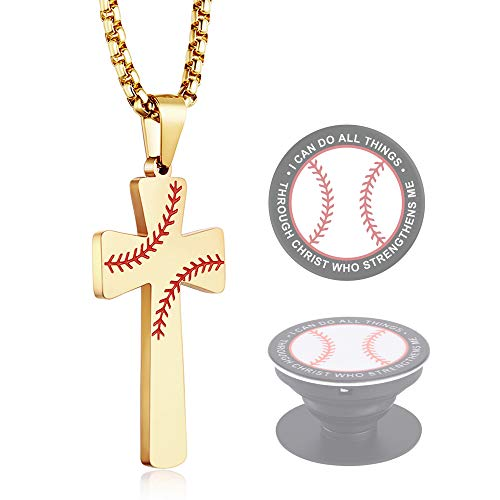 XIEXIELA Baseball Cross Pendant, I CAN DO All Things Strength Bible Verse Stainless Steel Necklace for Men Women Baseball Lover Gold