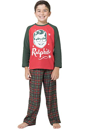 A Christmas Story Boys 'Ralphie Glasses Triple Dog Dare You' Christmas Holiday Plaid Pajama Set, Green, 4/5