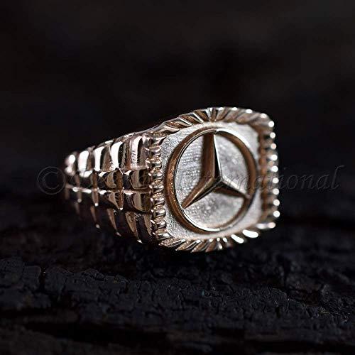 (Solid 925 Sterling Sliver Ring Rose Gold Plating Ring Rolex Band Style Engraved Band Latest Designer 3D Mercedes Benz Logo Band Ring Vermeil Ring)