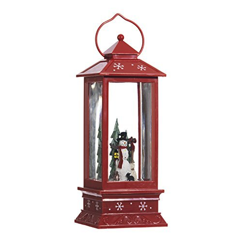 (Lighted Snow Globe Lantern: 11 Inch, Red Holiday Water Lantern by RAZ Imports (Snowman))