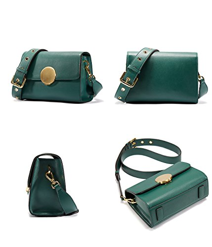 Flap Shoulder Vintage Closure with Bag Deep Round Women EMINI green HOUSE Bag Hardware wqUEtTq6