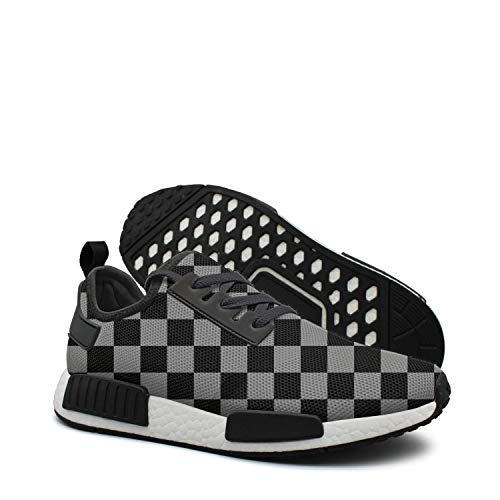 Checkered Black Grey Squares womens running shoes wide width nmds