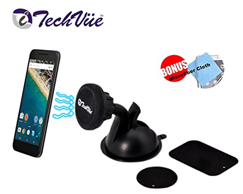Magnetic Car Mount Cell Phone Holder Rotating Universal Cell Holder Super Strong Suction Cup. For Samsung Galaxy iPhone Nexus HTC LG Motorola etc + BONUS MICROFIBER CLOTH
