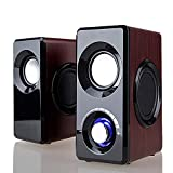 Stereo Sound Computer Speakers for PC,Mac,Laptop,Desktop,TV,Phone,Ipad,PS4,Xbox one,Wired Wooden Speaker,USB Powered,Built-in Four Loudspeaker Diaphragm