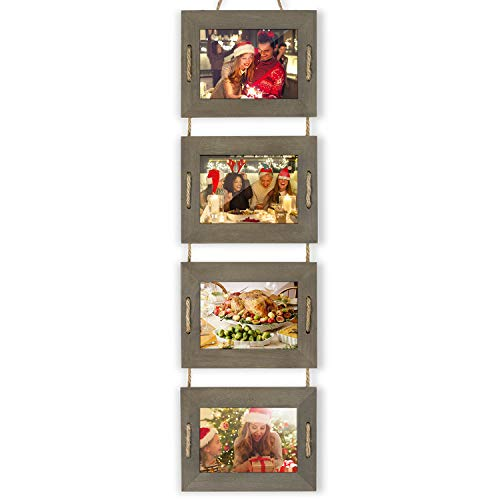 DLQuarts Collage Hanging Picture Photo Frame 5 x 7, 4-Frame Set On Hanging Rope, Rustic Solid Wood Photo Frame Weathered Green, Best Gift Choice (5x7 Picture Collage)