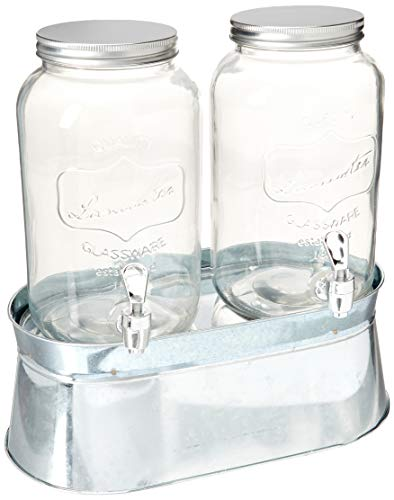 Circleware 92022 Mini Mason Jar Glass Beverage Dispensers with Stand Bucket, Fun Party Home Entertainment Glassware for Water, Juice, Beer, Punch, Iced Tea Drinks, 120 oz each, Double Lancaster