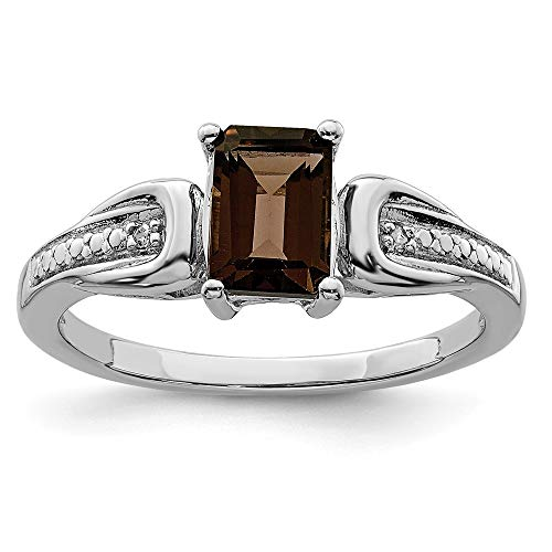 925 Sterling Silver Diamond Smoky Quartz Band Ring Size 9.00 Gemstone Fine Jewelry Gifts For Women For Her