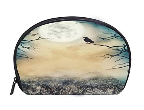 Portable Toiletry Cosmetic Bag Halloween background Spooky sky with moon and dead trees Travel Cosmetic Case Luxury Makeup Artist Bag -