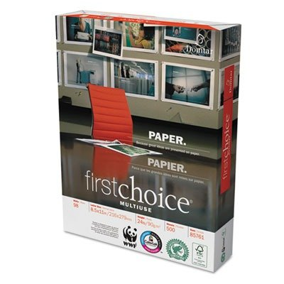 Choice Multi Use Copy Paper - Weyerhaeuser Company First Choice MultiUse Copy/Laser Paper, 98 Brightness, 24 lb, Letter (8.5 x 11), 5000 Sheets (85761)