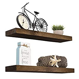 Imperative Décor Floating Shelves Rustic Wood Wal...