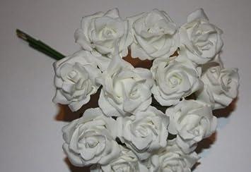 Mini Fleur Rose Artificielle Blanche Mousse 12 Tetes Pour Mariage