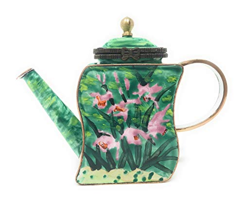 (Kelvin Chen Lavender Orchids Enameled Miniature Teapot with Hinged Lid, 4.5 Inches Long)