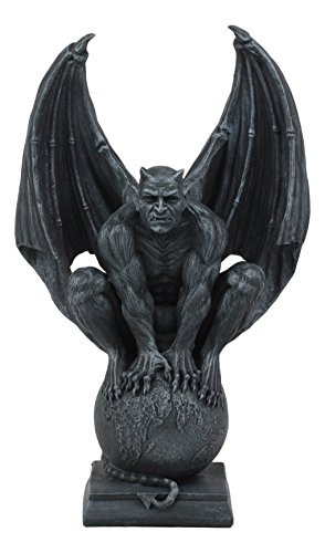 (Ebros Devil's Carnal Grip On The World Lucifer Satan Crouching On The Globe Statue 11.75