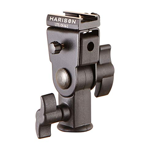 HARISON Umbrella Clamp/Lite-On M2 / Bracket for Flash/Accepts Hot Shoe/Speed-lite Accessory/All-Metal clamp for Photography (Black)