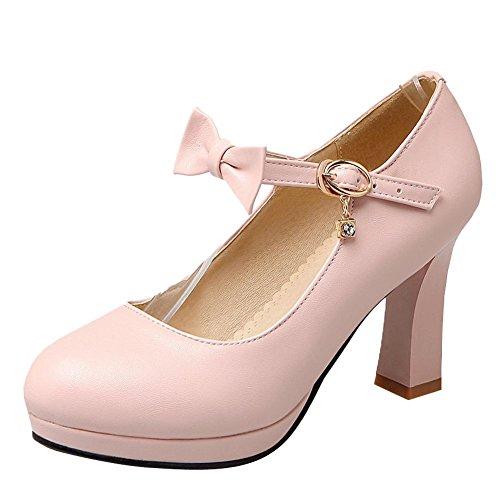Mee Shoes Damen runde Schnalle Schleife Pumps Pink