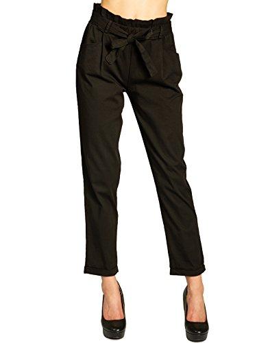 Trousers Cotone Bag Donna CASPAR Paper Sacchetto Pantaloni di Nero a KHS048 x7xw0zqC