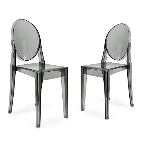 Adeco Plastic Ghost Side Chair for Outdoor Or Dining Living Room, Set of 2, Smoky Grey (Grey Ghost Chair)