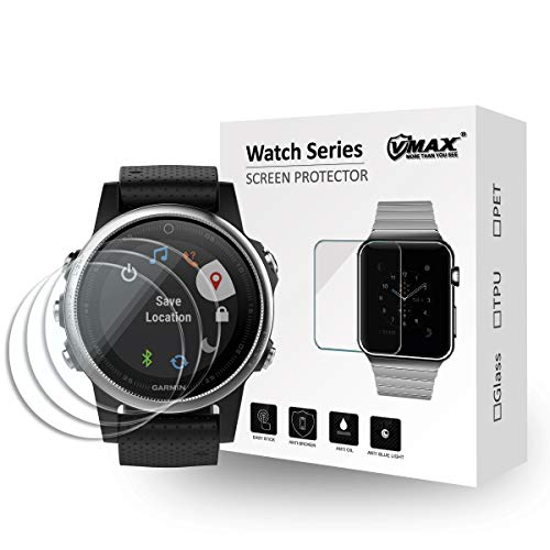 【3pack】 VMAX MORE THAN YOU SEE Tempered Glass Screen Protector for Garmin fenix5s [0.3mm 2.5D] 9H Premium Clear Screen Protective Film ()