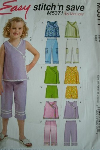 TODDLERS AND CHILDRENS TOPS, SHORTS AND CAPRI PANTS SIZE 1-2-3 EASY STITCH 'N SAVE BY MCCALLS PATTERN M5371 by Stitch 'n Save