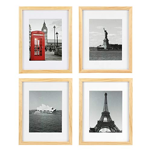 ONE WALL Tempered Glass 11x14 Picture Frame Solid Wooden Frame Set of 4 with Mats for 8x10 Photo, Natural Wood Color Frames for Wall Mounting or Tabletop - Mounting Hardware Included