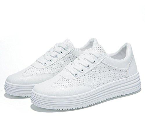 Due Spessore Piccoli Colori Studenti Tempo Aumentato Estate Lady Movimento White 36 Leather 38 Bianche Inferiore Shoes Scarpe Punching Xie Libero White pzaZxFnIwq