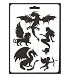 Layhome Scrapbook Stencils Kids Baby Drawing Template Painting Stencils Pads (Dragons)
