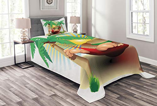 Paradise Quilted Hammock - Ambesonne Beach Bedspread Set Twin Size, Cute Illustration Relax Exotic Summer Holidays on Hammock Theme Hot Paradise Lands, Decorative Quilted 2 Piece Coverlet Set Pillow Sham, Multicolor