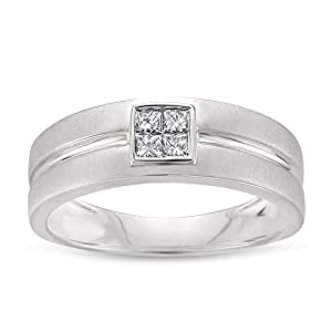 14k White Gold Princess-cut Diamond Men's Brushed Matte Wedding Band Ring (1/4 cttw, I-J, I1-I2), Size 12.5