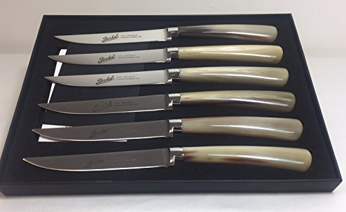 Berkel Elegance 6-Piece White Buffalo Steak Knife Set, Italian Made by Berkel