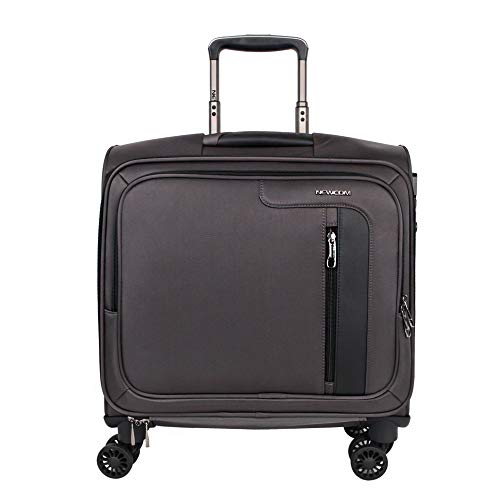 (NEWCOM Rolling Briefcase 16 Inch Carry On Polyester Softside Luggage with Spinner Wheels Built-In TSA Lock Fits 14 Inch Laptop Notebook for Business Travel Grey)