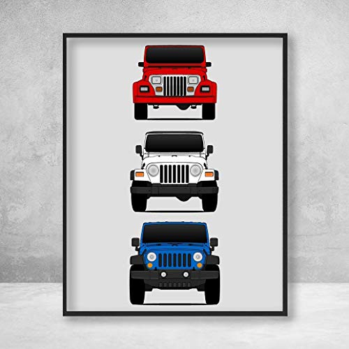 Jeep Wrangler Poster Print Wall Art of the History and Evolution of the Wrangler Generations (Car Models: YJ, TJ, JK) in Color